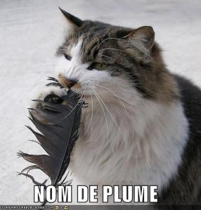 "Funny cat picture with caption ""Nom de plume"""