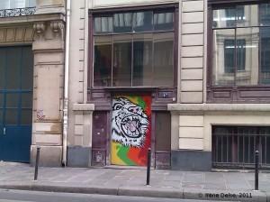 Graff dans une rue de Paris : tête de tigre
