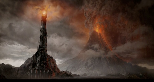 The Dark Tower, Barad-dûr, in the land of Mordor (art by Alan Lee)