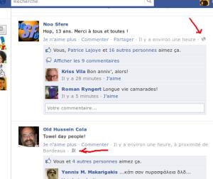 Capture d'écran de Facebook