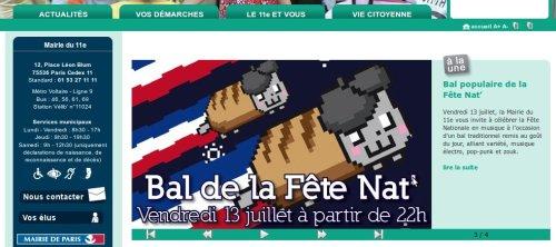 """Capture d'écran: site de la mairie du Onzième, image de """"nyan cat"""" avec bérêt, baguette et traînée tricolore"""