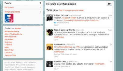 Capture d'écran Twitter avec le hashtag #UMPlosion