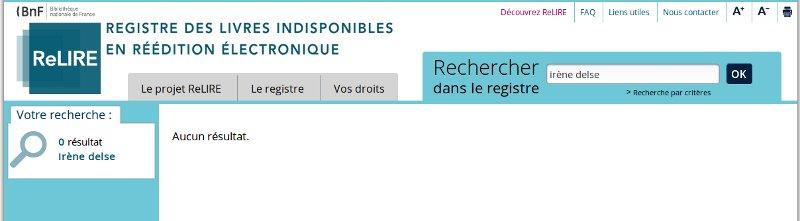 Capture d'écran : registre des indisponibles de la BNF (ReLIRE)