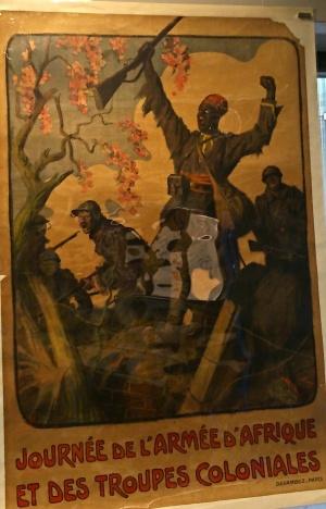Affiche de propagande française pendant la Grande Guerre, à la gloire des troupes coloniales (Afrique surtout)