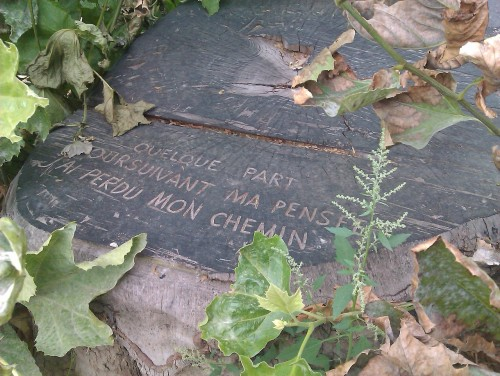 """Photo : Vers gravés sur une souche d'arbre au bord du Canal Saint-Martin : """"Quelques part / En suivant ma pensée / J'ai perdu mon chemin"""""""