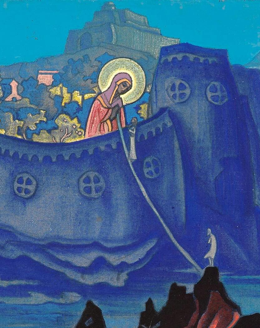 Tableau représentant une Madonne tenant un fil d'or sur lequel un pénitent progresse pour parvenir au château qui représente le Royaume des Cieux