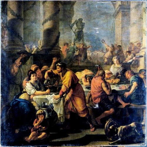 Toile d'Antoine Callet (1783) offrant une représentation des fêtes de Saturne à Rome