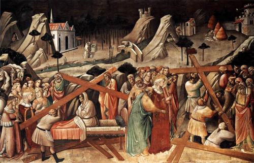 Tableau représentant Sainte Hélène, en robe pourpre, accompagnée d'un évêque, devant le tombeau du Christ, où des ouvriers exhument la Croix