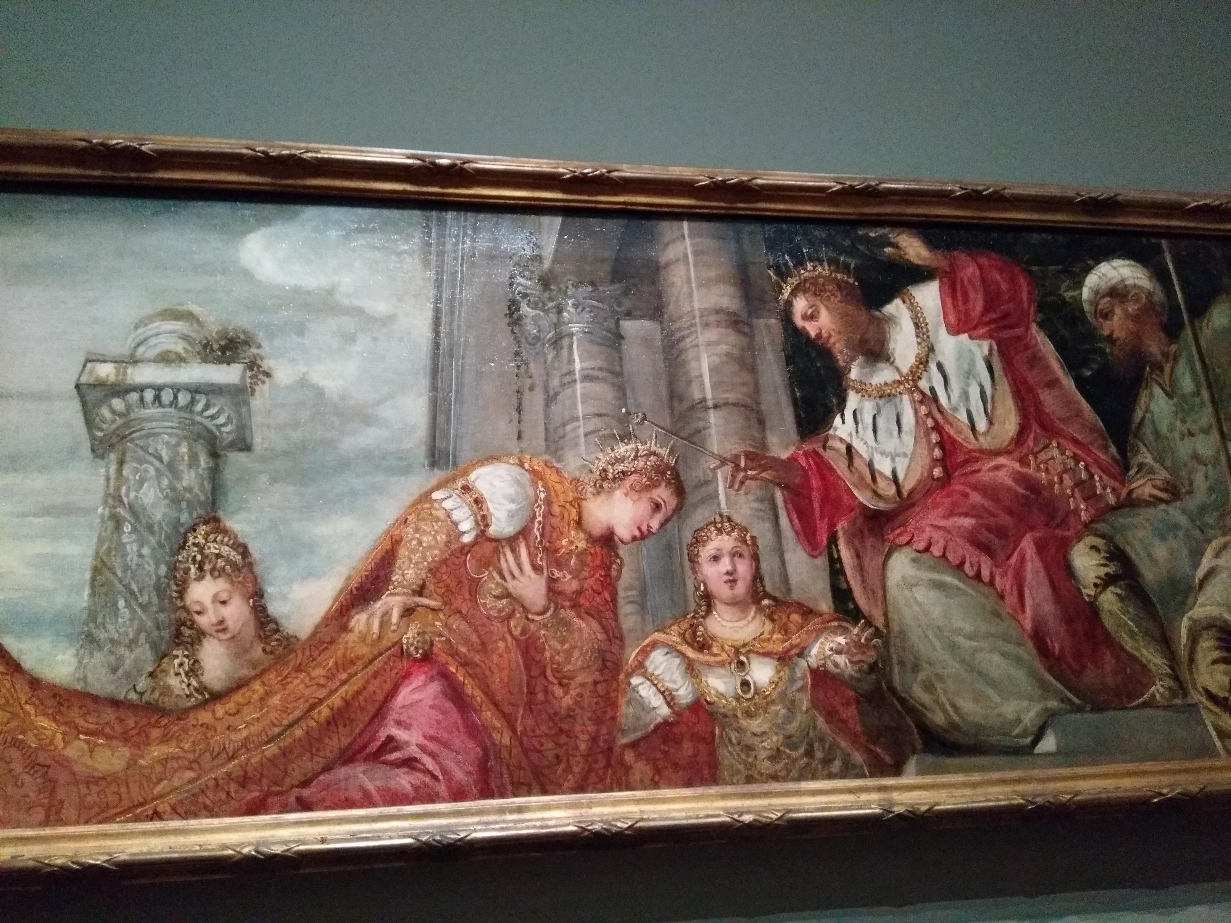Peinture italienne classique : une femme reçoit une couronne