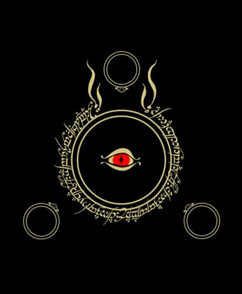 Dessin : l'anneau avec l'œil de Sauron au centre, un texte tout autour en caractères elfiques, trois autres anneaux comme des satellites