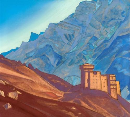 Peinture : une forteresse dans la montagne