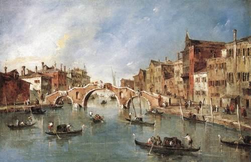 Peinture : Venise, un pont à trois arches sur un canal et des gondoles