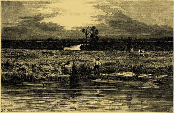 Gravure représentant un marécage en Italie, avec un homme dans une barque