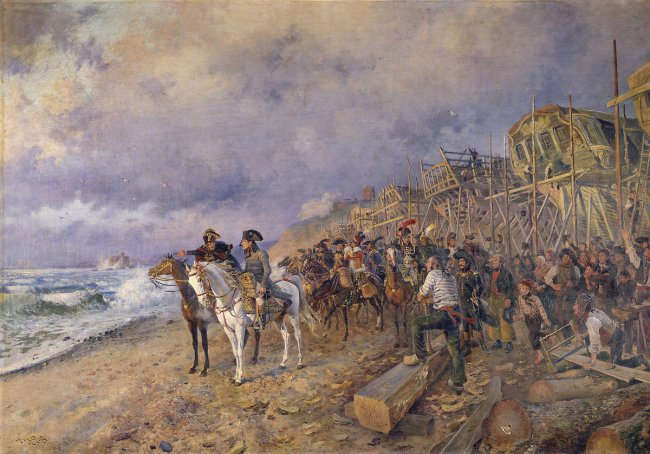 Napoléon sur la plage de Boulogne, avec son état-major, inspecte un chantier naval.